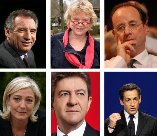 Six des onze candidats aux élections présidentielles françaises