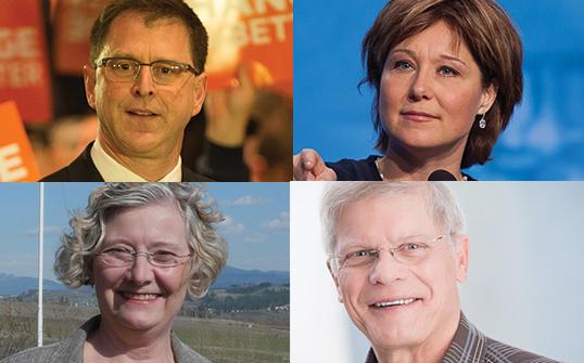 Politique et cuisine, vont-elles de pair? | Photos par BCNDP (Dix), BC Govt Photos (Clark), Greens for Allen (Sterk) et John Cummins (Cummins)