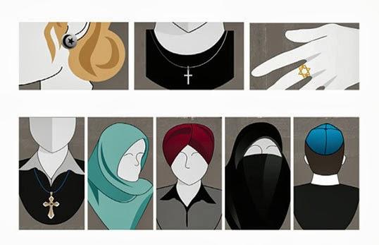 Les symboles religieux sont interdits dans la Charte proposée. | Illustation par le gouvernment de Québec.