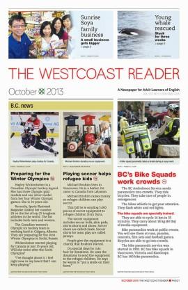 L'édition du mois d'octobre du mensuel The Westcoast Reader.