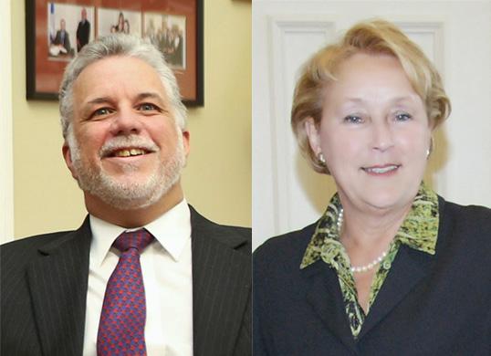 Philippe Couillard, chef du Parti libéral, et Pauline Marois, chef du Parti Québécois. | Photos de Justin Trudeau (à gauche) et du Parti Québécois (à droite)