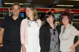 Jacques Dufresne, Julie Carpentier, Marie Villeneuve et Jacqueline Landry : les animateurs et animatrices d'Ici Radio-Canada Colombie-Britannique.