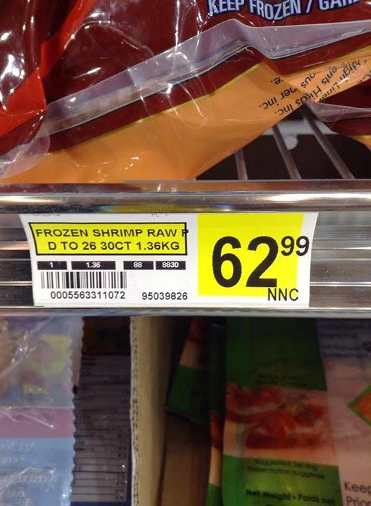 Des crevettes congelées à 62,99 $.