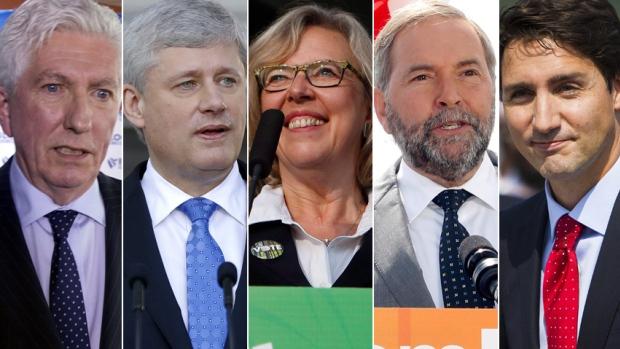 Les candidats aux élections fédérales 2015. | Photo par CBC/Reuters