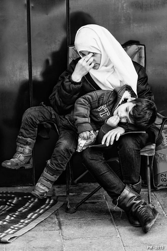 Une famille de réfugiés syriens.