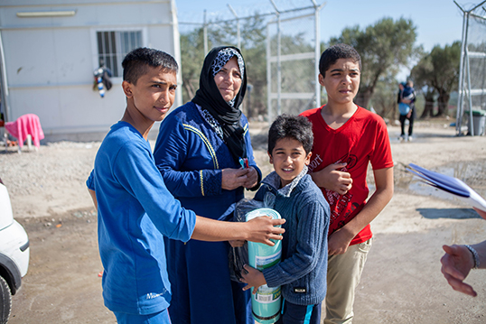 Une famille de réfugiés syriens. | Photo de CAFOD Photo Library
