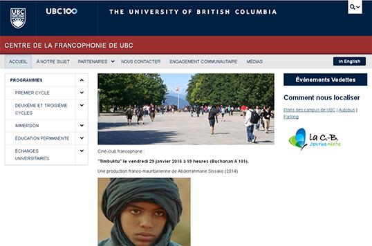 Le site web du Centre de la francophonie de l'Université de la Colombie-Britannique.