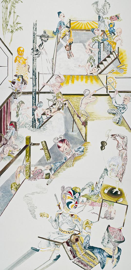 Les toiles d'Howie Tsui mélangent réalité et fantastique, dans un style à la fois asiatique et populaire.