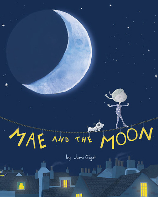 La couverture du livre Mae and the Moon de Jami Gigot. | Illustration par Jami Gigot