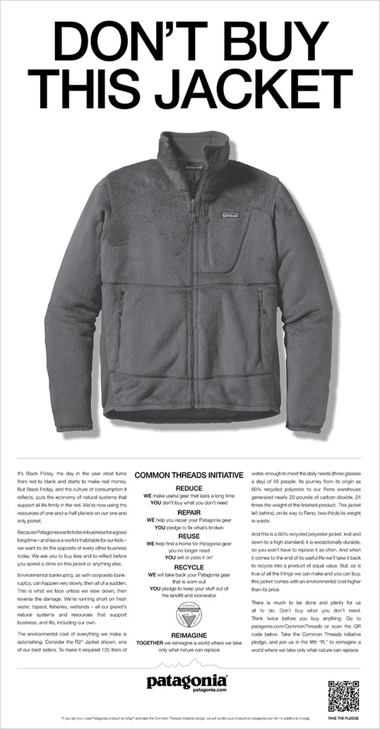 Don't buy this jacket, campagne publicitaire parue dans le New York Times. | Photo de Patagonia